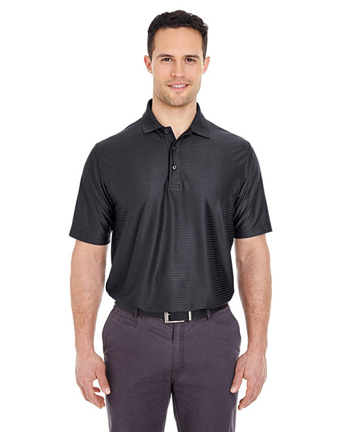 UltraClub 8413 Men Cool & Dry Elite Tonal Stripe Performance Polo Black at GotApparel