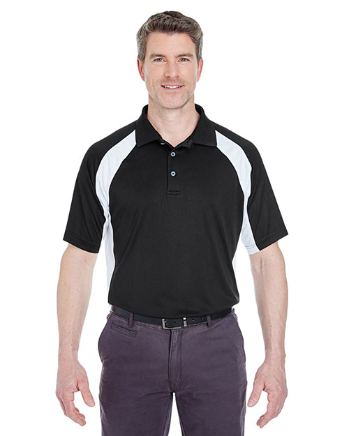 UltraClub 8427 Men Cool & Dry Sport Performance Color Block Interlock Polo Black/ White at GotApparel