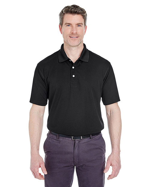 UltraClub 8445 Men Cool & Dry StainRelease Performance Polo Black at GotApparel