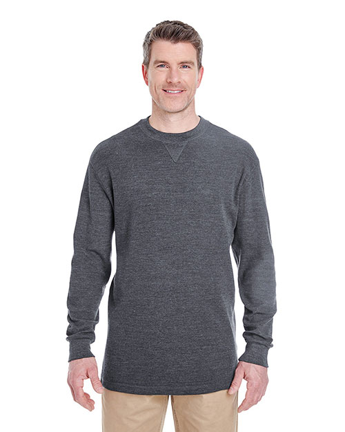UltraClub 8455 Men Mini Thermal Crew Neck Charcoal at GotApparel