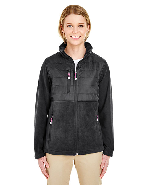 UltraClub 8493 Women Fleece Jacket with Quilted Yoke Overlay Black at GotApparel
