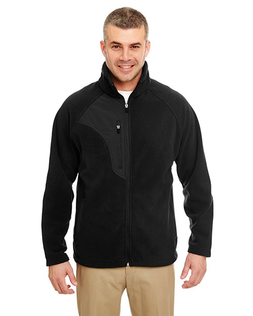 UltraClub 8495 Men MicroFleece FullZip Jacket Black/ Black at GotApparel