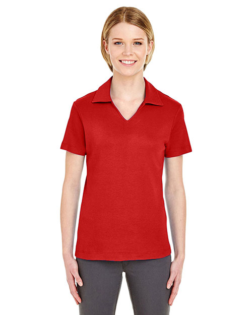 UltraClub 8507 Women Egyptian Interlock VNeck Polo Red at GotApparel