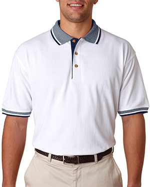 UltraClub 8536  Adult White-Body Classic Pique Polo with Contrasting Multi-Stripe Trim White/ Navy at GotApparel