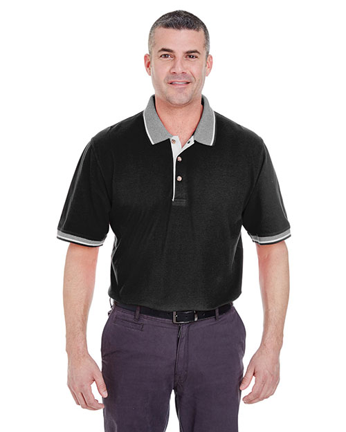 UltraClub 8537 Men ColorBody Classic Pique Polo with Contrast MultiStripe Trim Black/ White at GotApparel