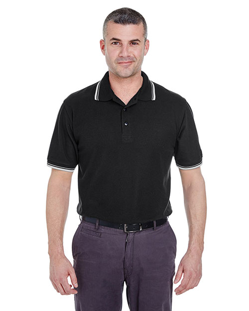 UltraClub 8545 Men ShortSleeve Whisper Pique Polo with Tipped Collar and Cuffs Black/ White at GotApparel