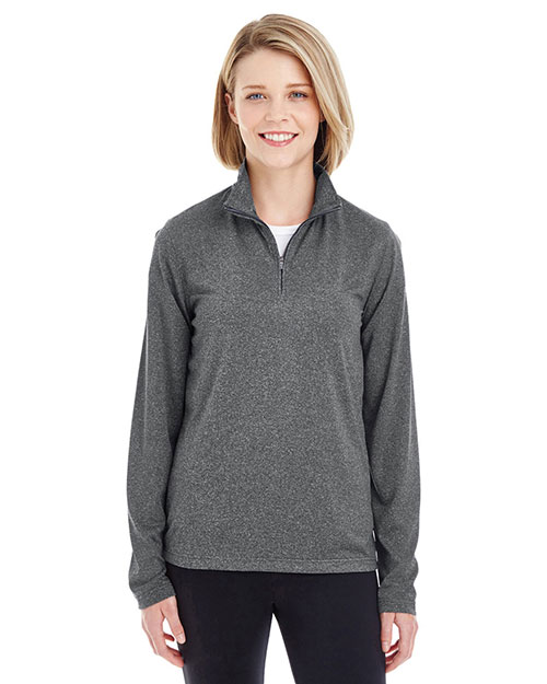 Ultraclub 8618W Women Cool & Dry Heathered Performance Quarter-Zip at GotApparel
