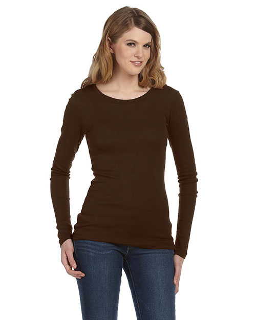 Bella + Canvas 8751 Women Sheer Mini Rib LongSleeve TShirt Chocolate at GotApparel