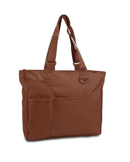 UltraClub 8811 Unisex Super Feature Tote Brown at GotApparel