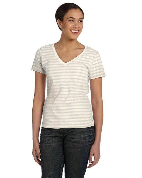 Anvil 8823 Women Lightweight Striped VNeck TShirt Natural/Linen at GotApparel