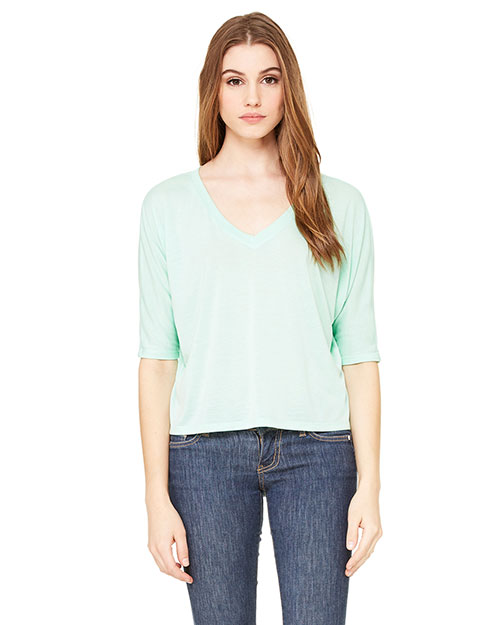 Bella + Canvas 8825 Women Flowy Boxy HalfSleeve V-Neck TShirt at GotApparel