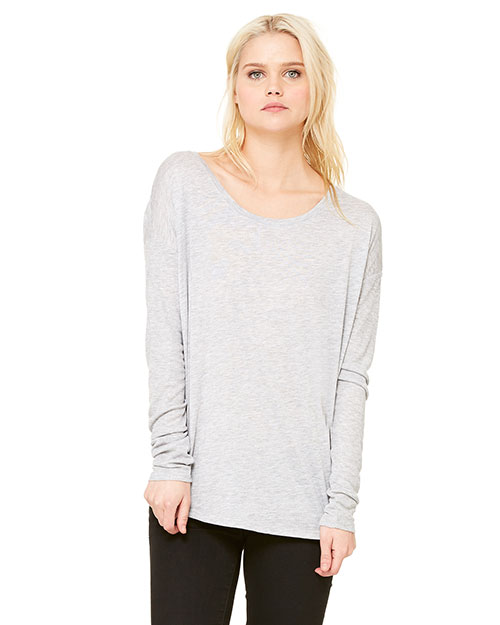 Bella + Canvas 8852 Women Flowy LongSleeve TShirt with 2x1 Sleeves Athletic Heather at GotApparel