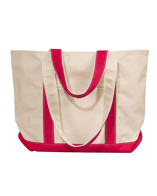 UltraClub 8871 Unisex Large Canvas Boat Tote Natural/ Red at GotApparel