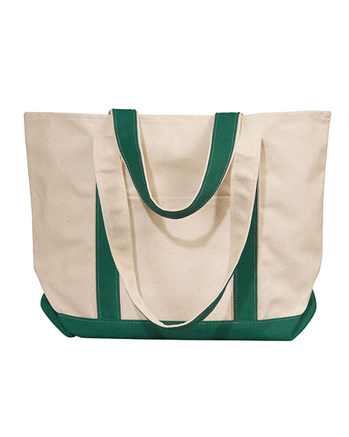 Liberty Bags 8871 Winward Canvas Tote Natural/Forest at GotApparel