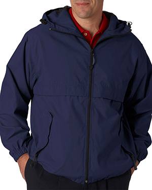 UltraClub 8908  Adult Microfiber Hooded Zip-Front Jacket Navy at GotApparel