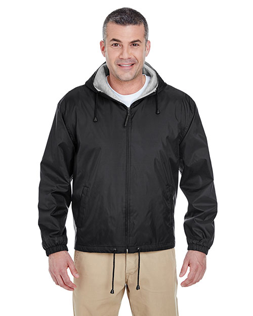 UltraClub 8915 Men FleeceLined Hooded Jacket Black at GotApparel