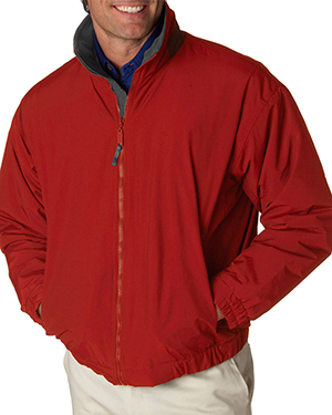 UltraClub 8921  Mens Adventure All-Weather Jacket Red/ Charcoal at GotApparel
