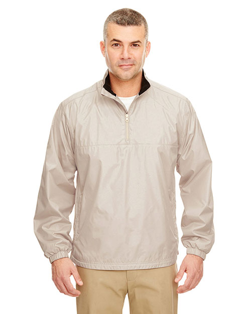 UltraClub 8936 Men MicroPoly 1/4Zip wind shirt Sand at GotApparel