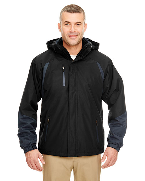 UltraClub 8939 Men Color Block 3in1 Systems Hooded Jacket Black/ Slate at GotApparel