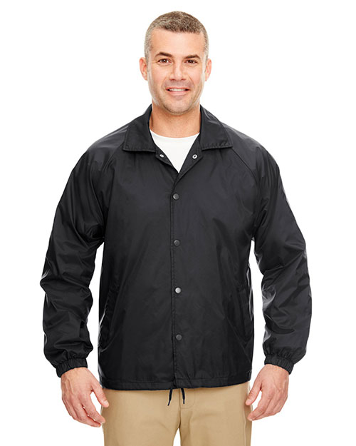 UltraClub 8944 Men Nylon Coaches' Jacket Black at GotApparel