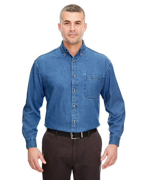 UltraClub 8960T Men Tall Cypress Denim with Pocket Indigo at GotApparel