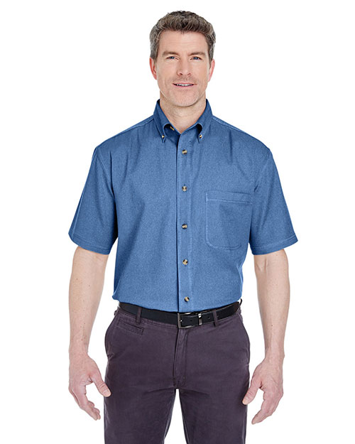 UltraClub 8965 Men C  Adult Cypress Colors ShortSleeve Woven with Pocket Indigo at GotApparel