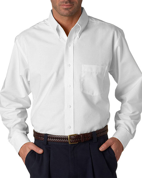 UltraClub 8970T Men Tall Classic WrinkleFree LongSleeve Oxford White at GotApparel