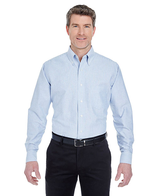 UltraClub 8970 Men Classic WrinkleFree LongSleeve Oxford Blue/ White at GotApparel