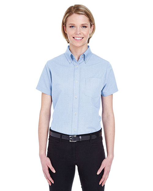 UltraClub 8973 Women ' Classic WrinkleFree ShortSleeve Oxford Light Blue at GotApparel