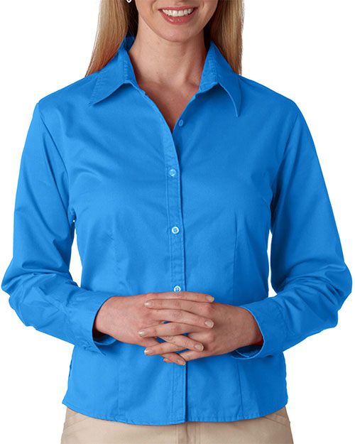 UltraClub 8976 Women Whisper Twill Cornflower at GotApparel
