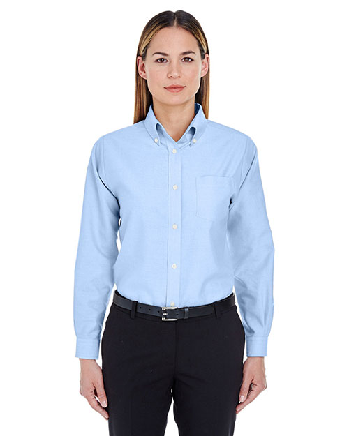 UltraClub 8990 Women Classic WrinkleFree LongSleeve Oxford Light Blue at GotApparel