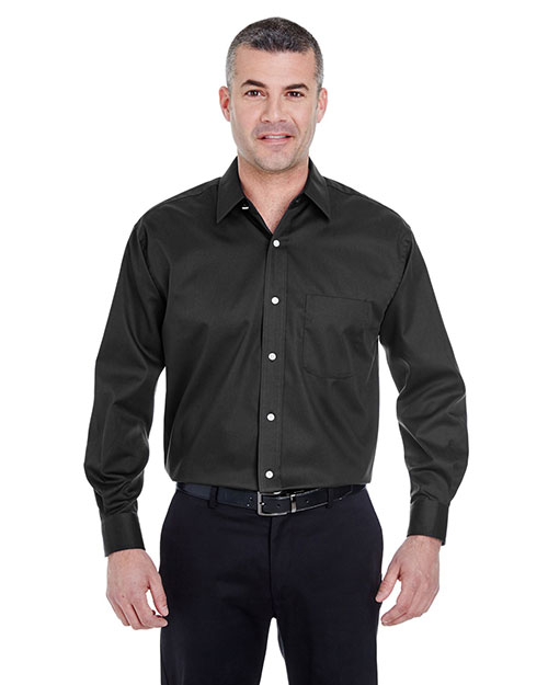 UltraClub 8991 Men Whisper Elite Twill Black at GotApparel