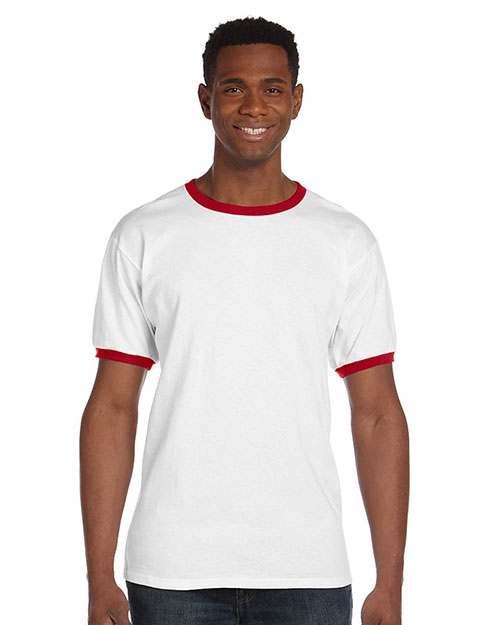 Anvil 923 Men Heavyweight Ringer T White/Red at GotApparel