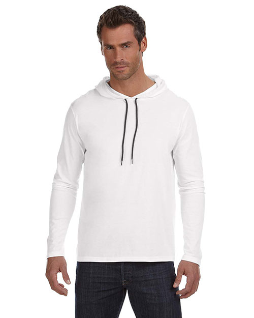 Anvil 987AN Adult Lightweight LongSleeve Hooded TShirt White/Dark Grey at GotApparel