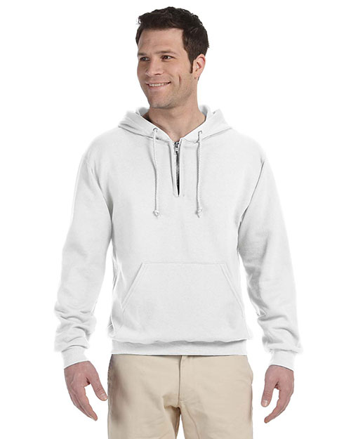Jerzees 994MR Men 8 oz., 50/50 NuBlend Fleece Quarter-Zip Pullover Hood White at GotApparel