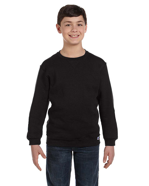 Russell Athletic 998HBB Boys Dri-Power Fleece Crew Black at GotApparel