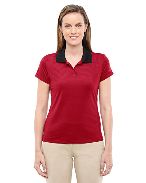 Adidas A120 Women climalite Classic Stripe ShortSleeve Polo Black/University Red at GotApparel
