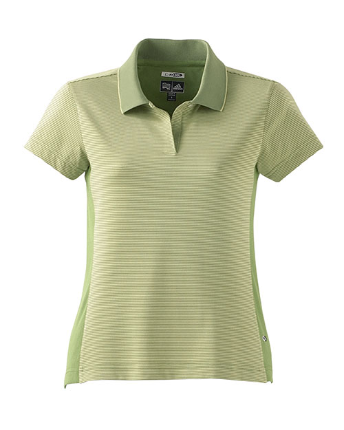 Adidas A20  ClimaCool Ladies Classic Stripe Polo CACTUS/GRASS at GotApparel