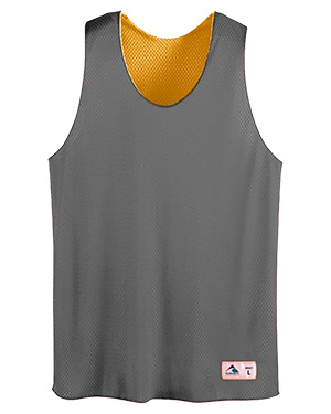 Augusta AS197 Men's Tricot Mesh Reversible Tank Black/Gold at GotApparel