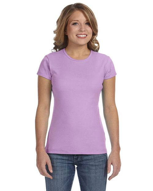 Bella + Canvas 1001 Women Stretch Rib Short-Sleeve T-Shirt Lilac at GotApparel