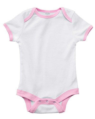 Bella B102  Infants Short-Sleeve Contrast Two-Tone One-Piece WHITE/PINK at GotApparel