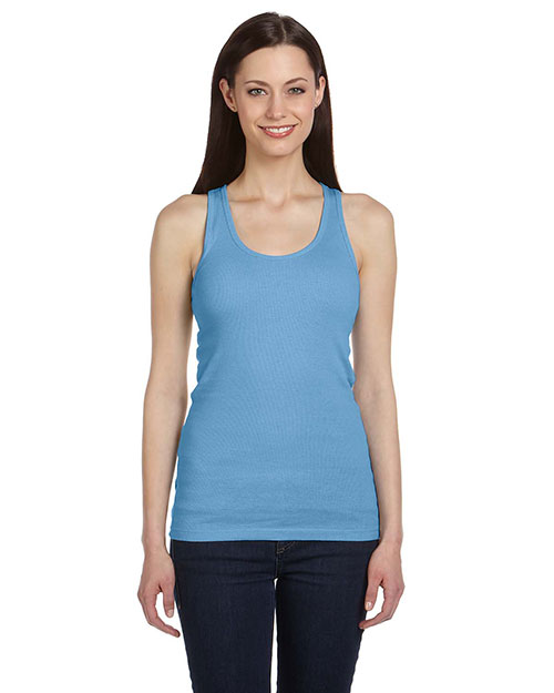 Bella + Canvas B4070 Women 2x1 Rib Racerback Longer Length Tank Ocean Blue at GotApparel
