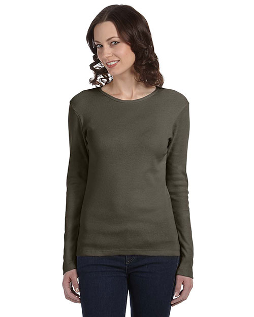Bella + Canvas B5001 Women Stretch Rib LongSleeve TShirt Army at GotApparel