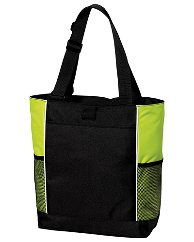 Port Authority B5160  Unisex Improved  Panel Tote Black/Brt Lime at GotApparel