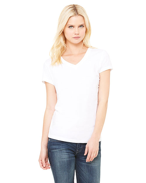 Bella + Canvas B6005 Women Jersey ShortSleeve VNeck TShirt White at GotApparel