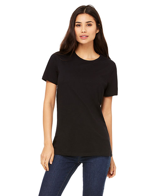 Bella + Canvas B6400 Women Missy's Relaxed Jersey ShortSleeve TShirt Black at GotApparel
