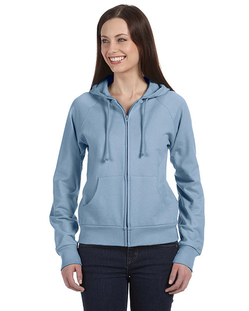 Bella + Canvas B7007 Women Fleece FullZip Raglan Hoodie Baby Blue at GotApparel