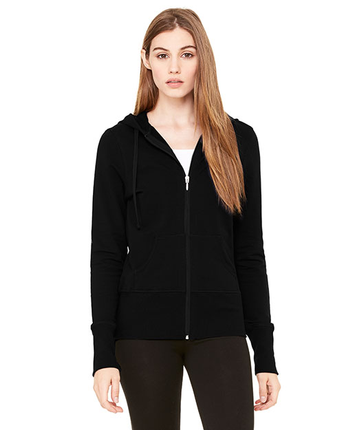 Bella + Canvas B7207 Women Stretch French Terry Lounge Jacket Black at GotApparel