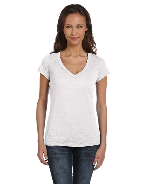 Bella B8605  Ladies Simone Burnout V-Neck WHITE at GotApparel