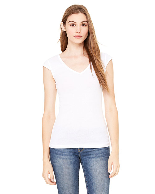 Bella + Canvas B8705 Women Sheer Mini Rib CapSleeve Deep VNeck TShirt White at GotApparel